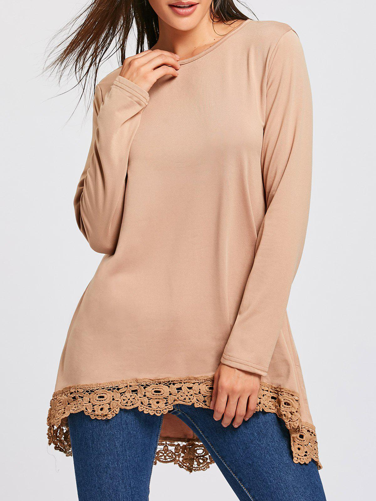 High Low Lace Panel Long Sleeve T-shirtWOMEN<br><br>Size: L; Color: KHAKI; Material: Polyester; Sleeve Length: Full; Collar: Round Neck; Style: Fashion; Pattern Type: Solid; Season: Fall,Spring; Weight: 0.420kg; Package Contents: 1 x T-Shirt;