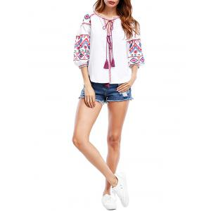 Tassels Tribal Print Puff Sleeve Blouse -