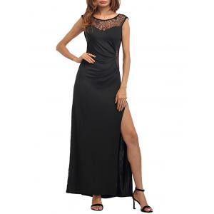 High Slit Draped Party Maxi Dress -
