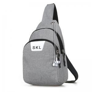 Letter Print Headphone Hole Chest Bag -