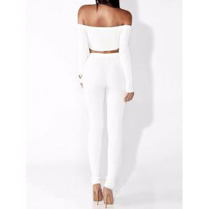Off The Shoulder côtelé Skinny Suit -