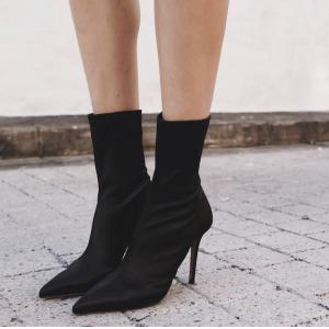 Point Toe High Heel Stretch Sock Boots -