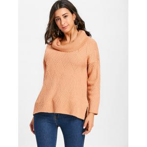 Side Slit Cowl Neck Knitted Sweater -