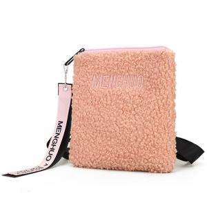 Letter Embroidered Faux Fur Crossbody Bag -
