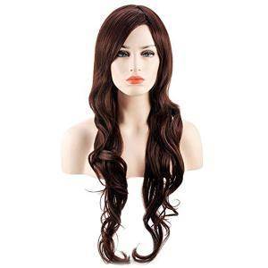 Long Inclined Bang Wavy Heat Resistant Synthetic Wig -
