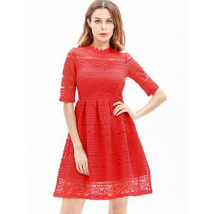 Lace Embroidered Mini A Line Dress -