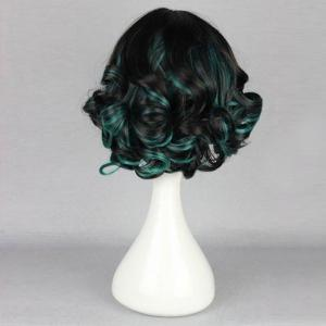 Short Side Bang Highlighted Fluffy Curly Synthetic Wig -