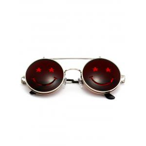 Funny Smiling Face Flip-open Round Shape Sunglasses -