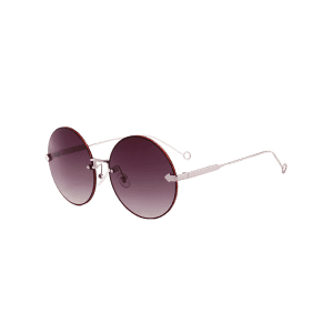 Vintage Arrow Embellished Rimless Round Sunglasses -