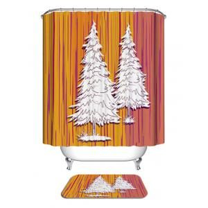 Christmas Pine Trees Print Waterproof Bathroom Shower Curtain -