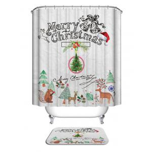 Christmas Cartoon Theme Print Waterproof Bathroom Shower Curtain -