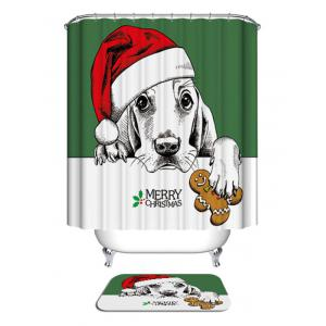 Christmas Dog Biscuit Print Waterproof Bathroom Shower Curtain -
