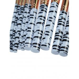 10Pcs Zebra Stripes Pattern Embellished Makeup Brushes Set -