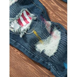Splatter Paint American Flag Patch Ripped Jeans -