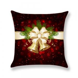 Christmas Bell Printed Square Pillow Case -