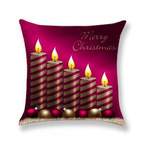 Christmas Candle Pattern Decorative Pillow Case -