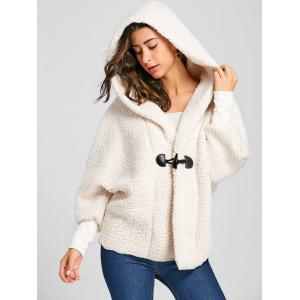 Dolman Sleeve Hooded Fuzzy Coat -