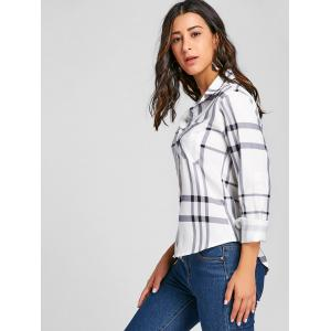 Button Up High Low Plaid Blouse -