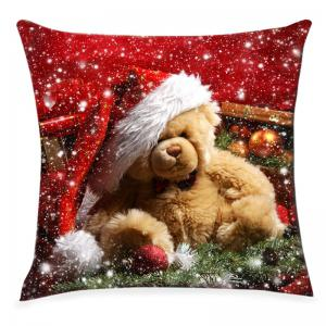Christmas Toy Bear Snowflake Print Pattern Linen Pillowcase -