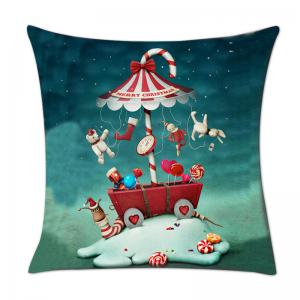 Christmas Candy Dolls Print Decorative Pillowcase -