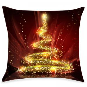 Christmas Sparkly Tree Print Decorative Linen Pillowcase -