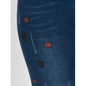 Ripped Plus Size Lips Embroidered Jeans -