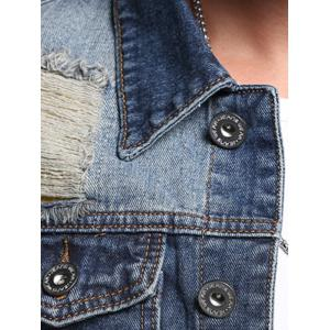 Chest Pocket Patch Design Veste en jean vieilli -