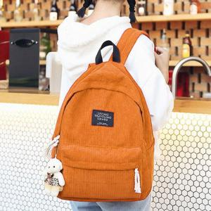 Letter Print Pendant Bear Backpack -