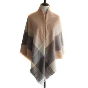 Vintage Checkered Pattern Artificial Wool Shawl Scarf -