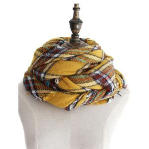 Vintage Tartan Pattern Embellished Artificial Wool Shawl Scarf -