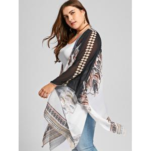 Feather Print Open Front Plus Size Poncho Coat -