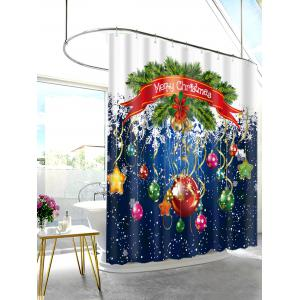Christmas Ornaments Printed Waterproof Polyester Shower Curtain -