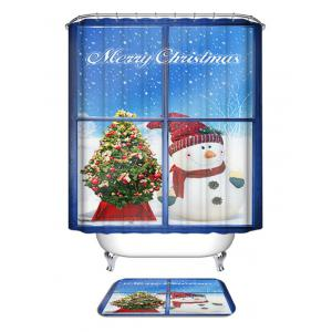 Christmas Snowman Window Print Waterproof Bathroom Shower Curtain -