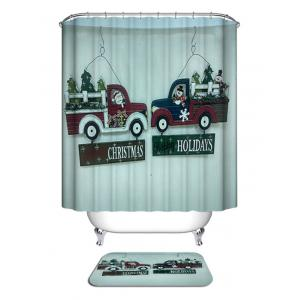 Christmas Car Greetings Print Waterproof Bathroom Shower Curtain -
