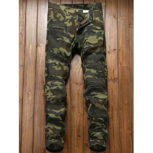 Pleat Zipper Fly Camouflage Cargo Pants -