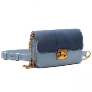 Contrasting Color Metallic PU Leather Crossbody Bag -