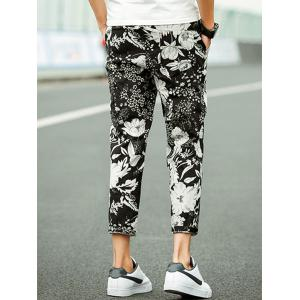 Flower Cotton Linen Blended Casual Pants -