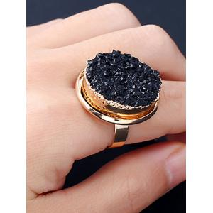 Faux Crystal Engraved Round Finger Ring -