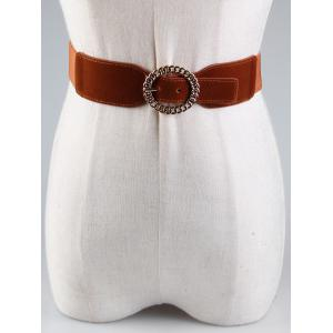 Vintage Hollow Out Round Shape Buckle Elastic Waist Belt -
