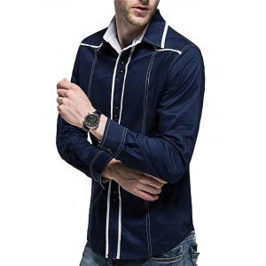 Curved Hem Button Cuff Long Sleeve Shirt -