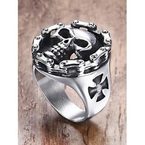 Engraved Skull Crucifix Stainless Steel Ring -