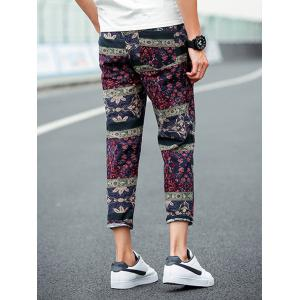 Ethnic Style Retro Floral Loose Linen Pants -