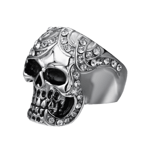 Rhinestoned Skull Finger Ring -