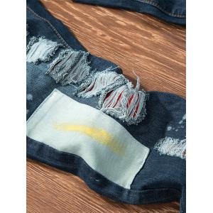 Paint Patch Embroidered Ripped Jeans -