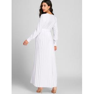 Pleated Surplice Neck Warp Maxi Dress -