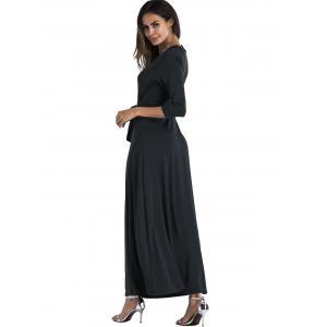 Plunging Belted Surplice High Slit Maxi Dress -