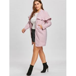 Plus Size Zip Up Ruffle Trench Coat -