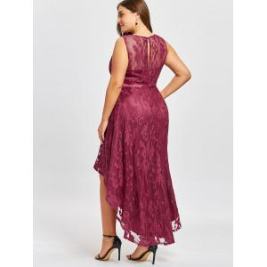 Plus Size Lace Dip Hem Evening Dress -