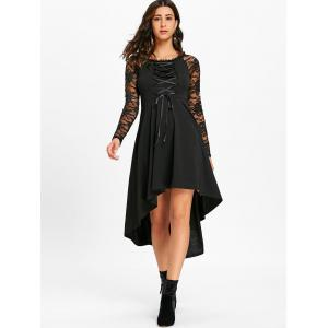 Lace Up High Low Dress -