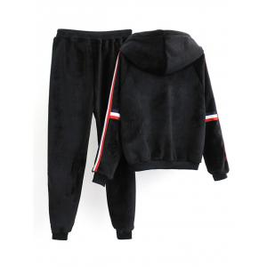 Striped Fuzzy Hoodie and Drawstring Sweatpants -